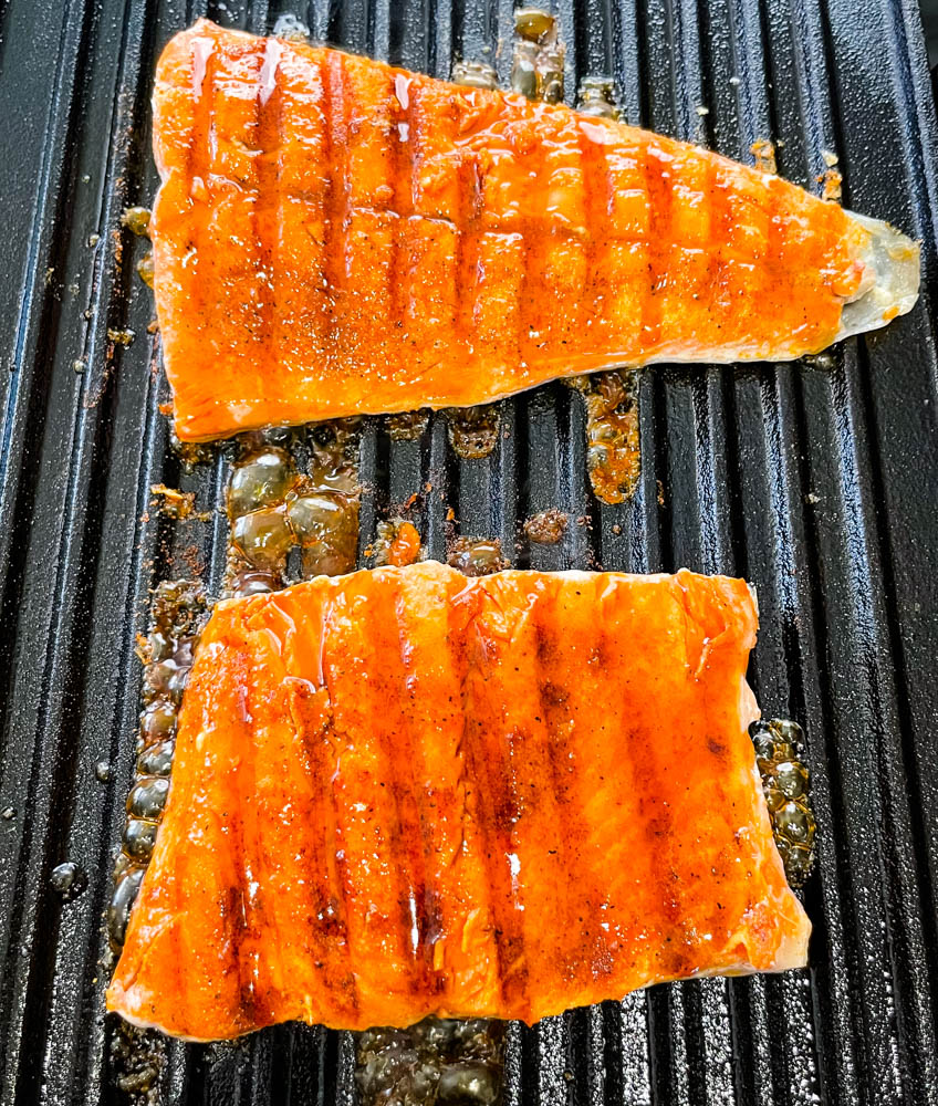 maple glazed salmon cooked in a grill pan