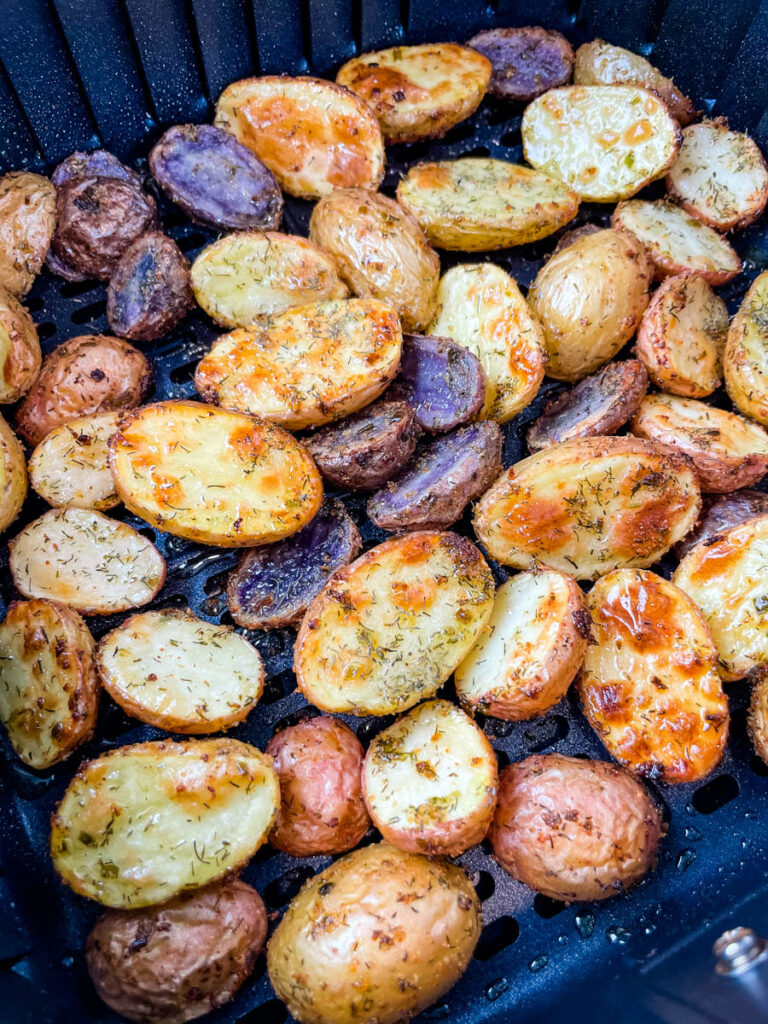 roasted potatoes in an air fryer