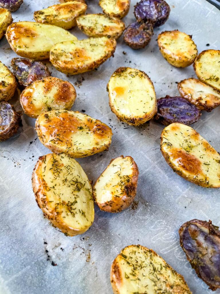 roasted ranch potatoes on a sheet pan
