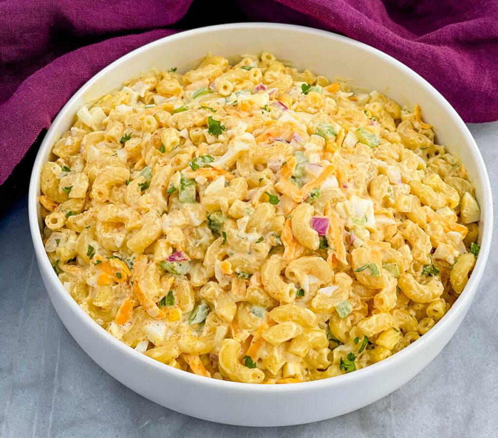 Southern macaroni salad in a white bowl