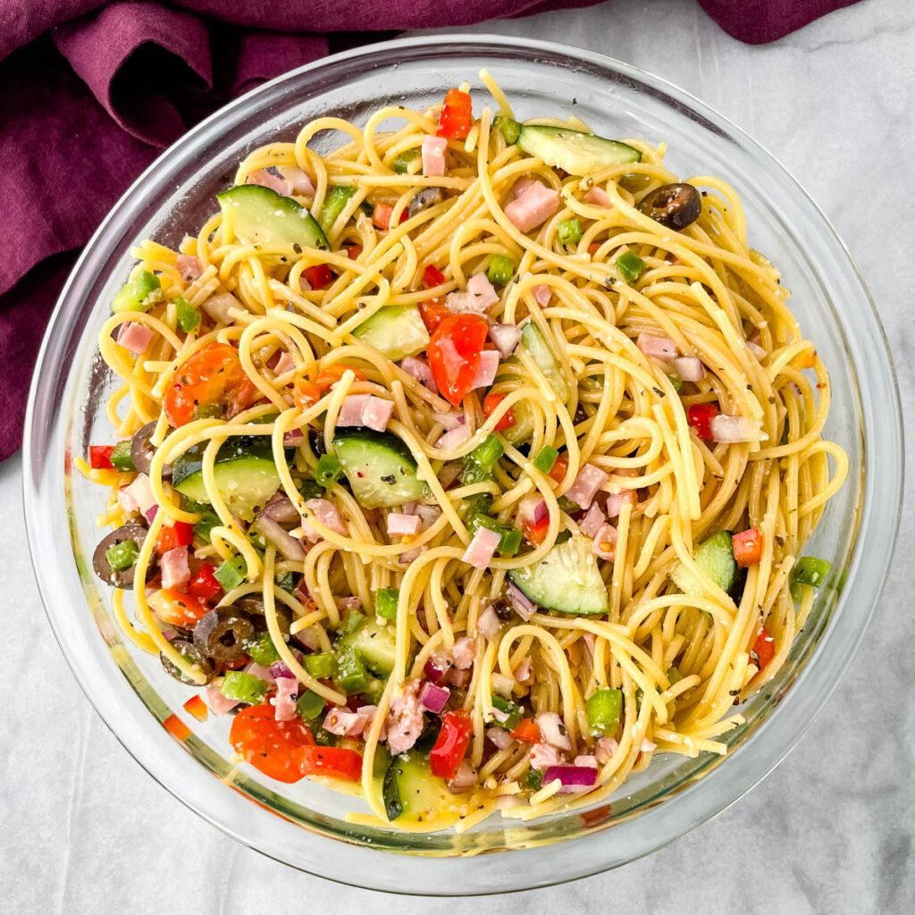 spaghetti salad in a glass bowl