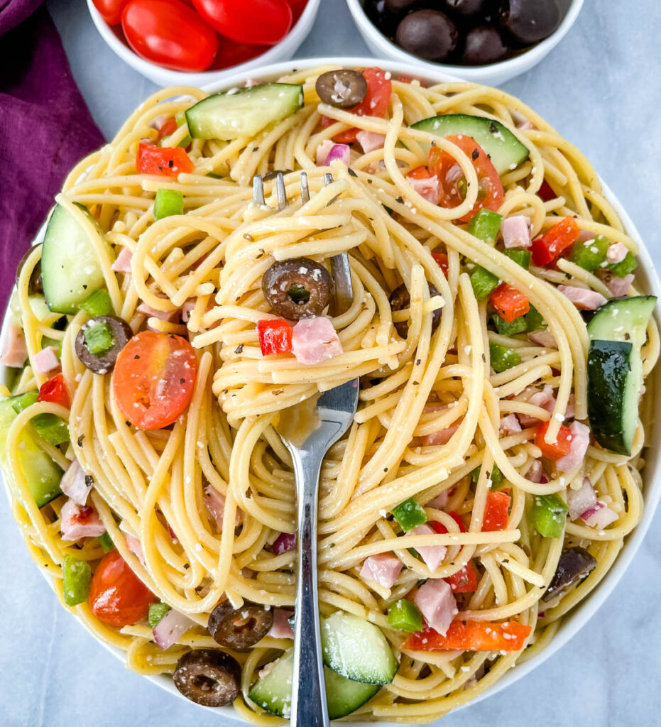 a forkful of spaghetti salad