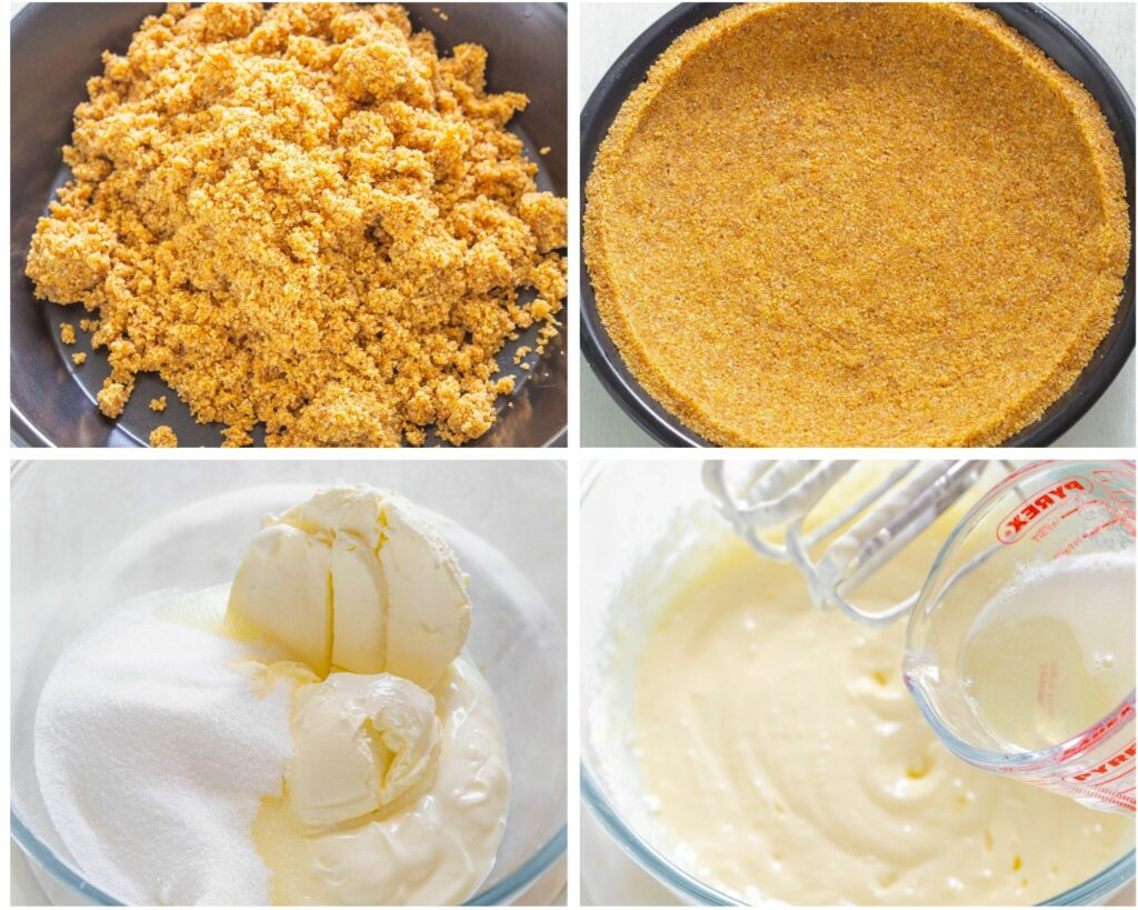 collage photo that shows pie crust and pie filling