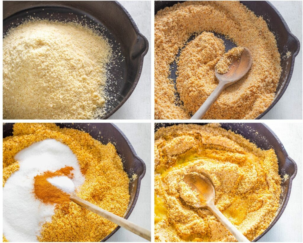 collage photo that shows how to make graham cracker crust in a cast iron skillet