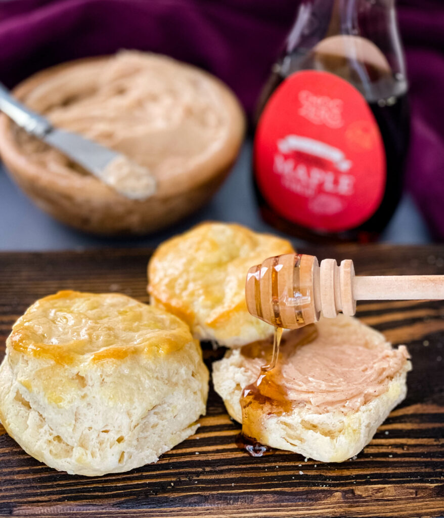 maple butter on biscuits glazed with maple syrup