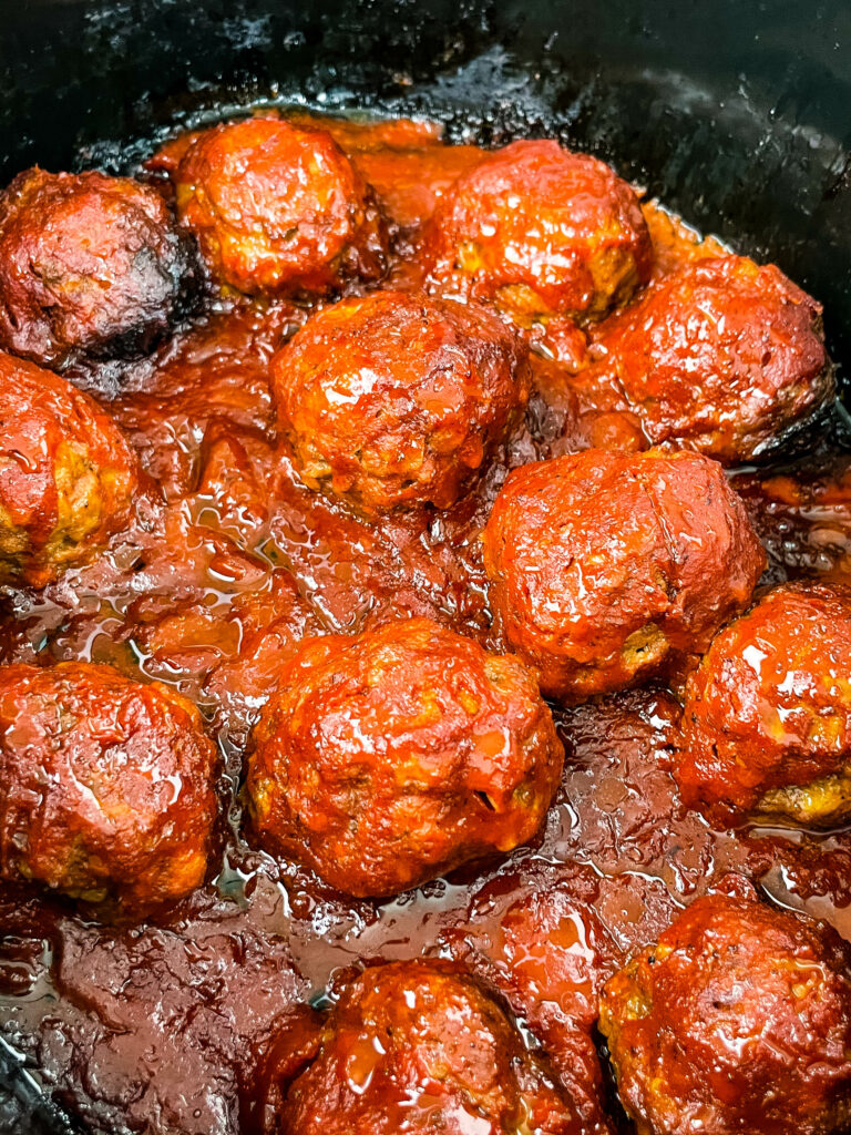 BBQ meatballs in a slow cooker