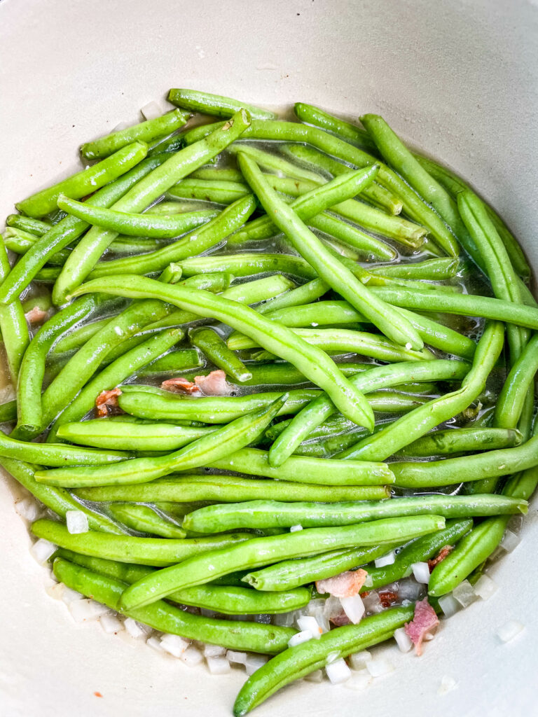 uncooked Southern green beans in a pot