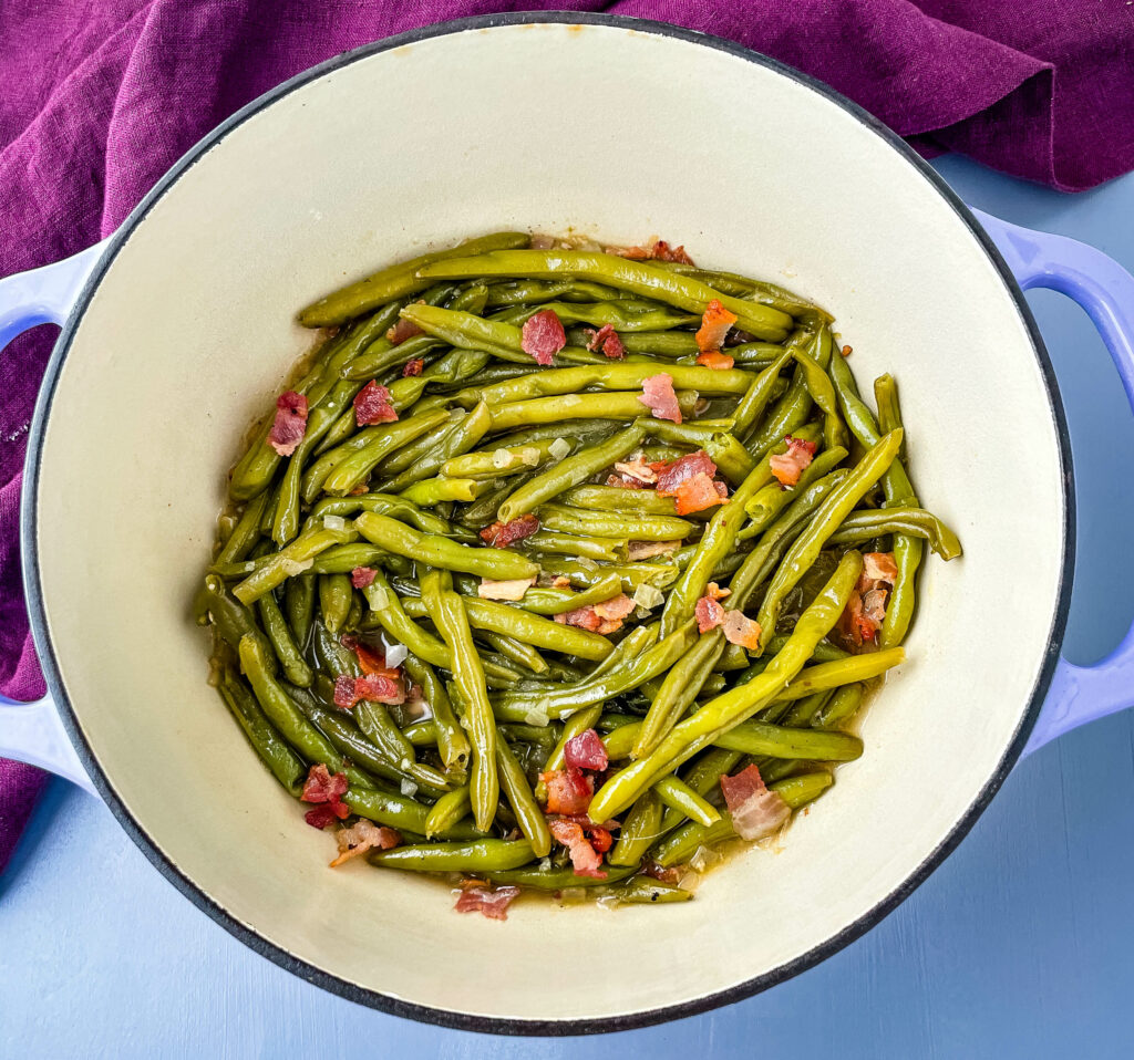 southern green beans with bacon in a pot