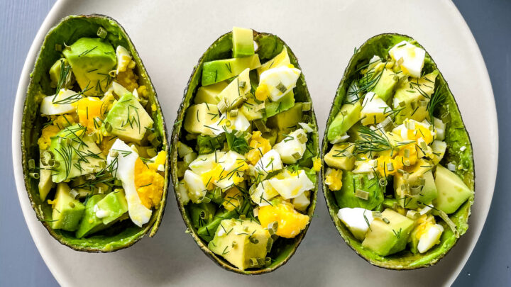 avocado egg salad cups on a plate