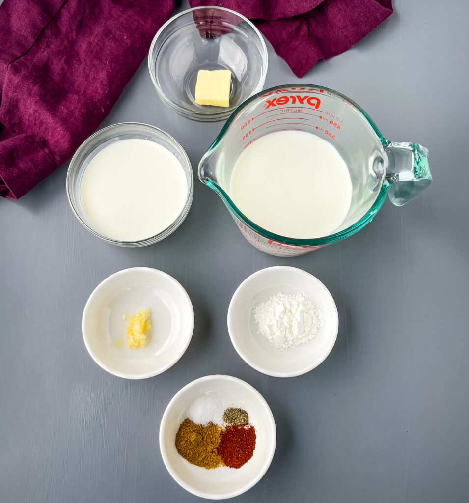 butter, milk, half and half, seasonings, and cornstarch in separate bowls