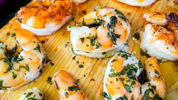 grilled shrimp on a cedar plank