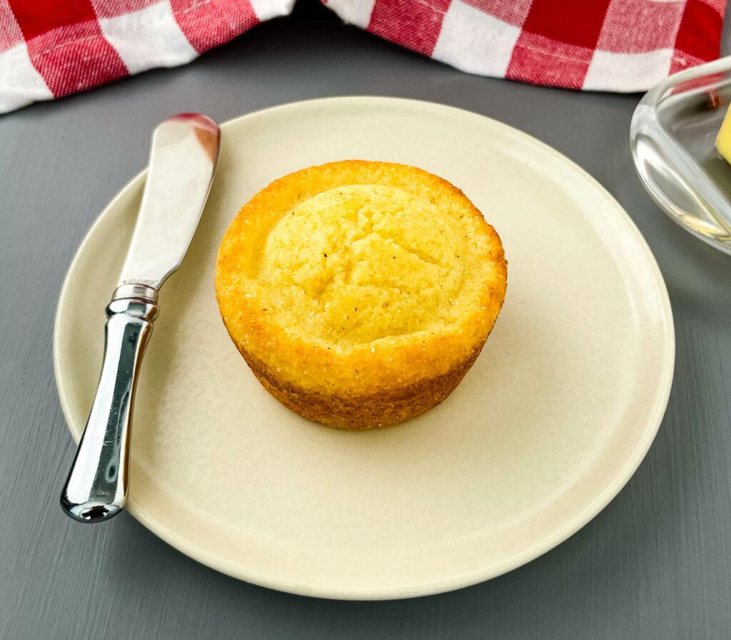 cornbread muffin on a plate