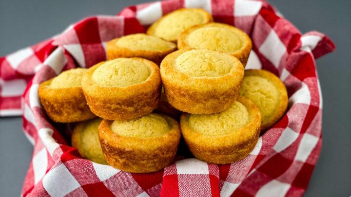 cornbread muffins in a bread basket