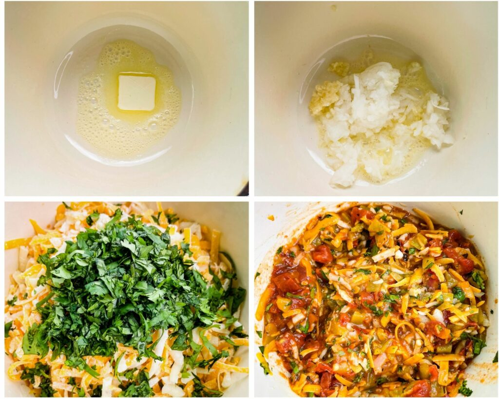 collage photo of 4 photos showing melted butter and uncooked queso cheese dip in a saucepan