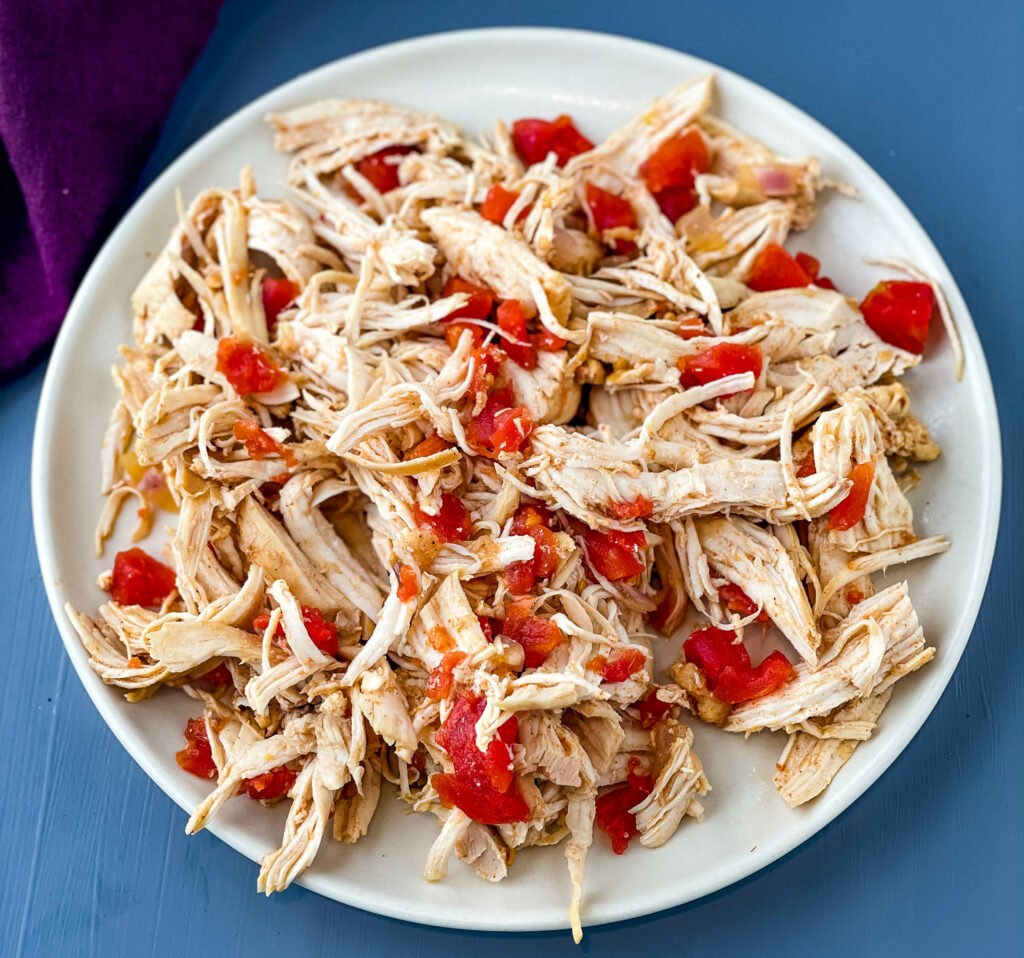 shredded Instant Pot chicken on a plate