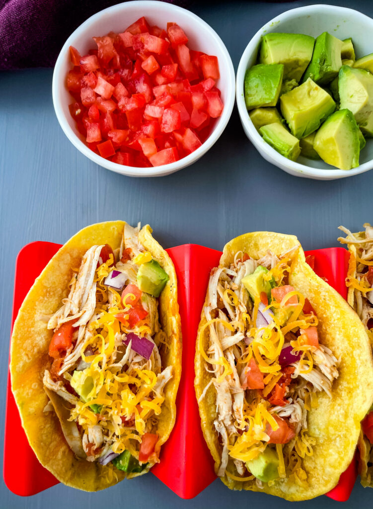 Instant Pot shredded chicken tacos on a plate