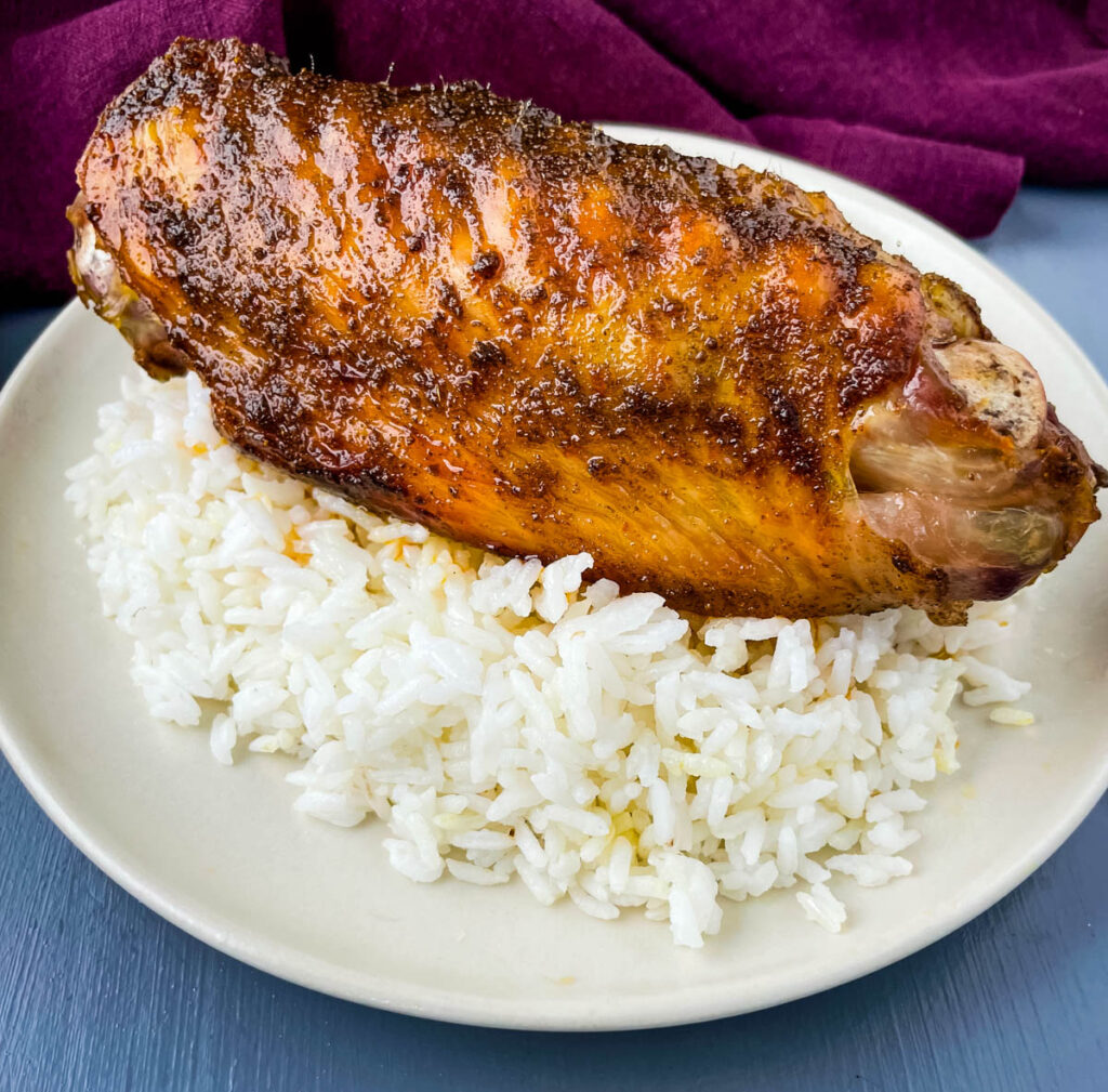 baked turkey wing with white rice