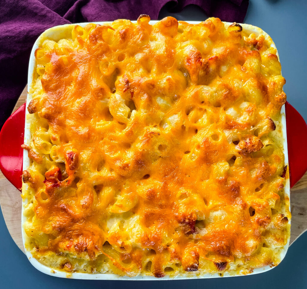 lobster mac and cheese in a baking dish