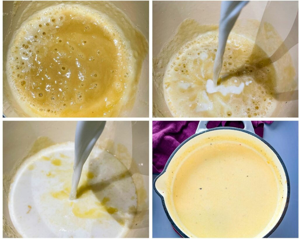 collage photo of butter and flour melted in a saucepan with milk
