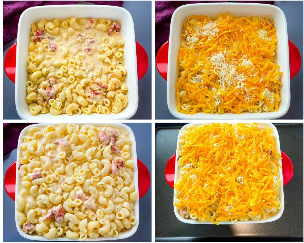 collage photo of unbaked lobster mac and cheese in a baking dish