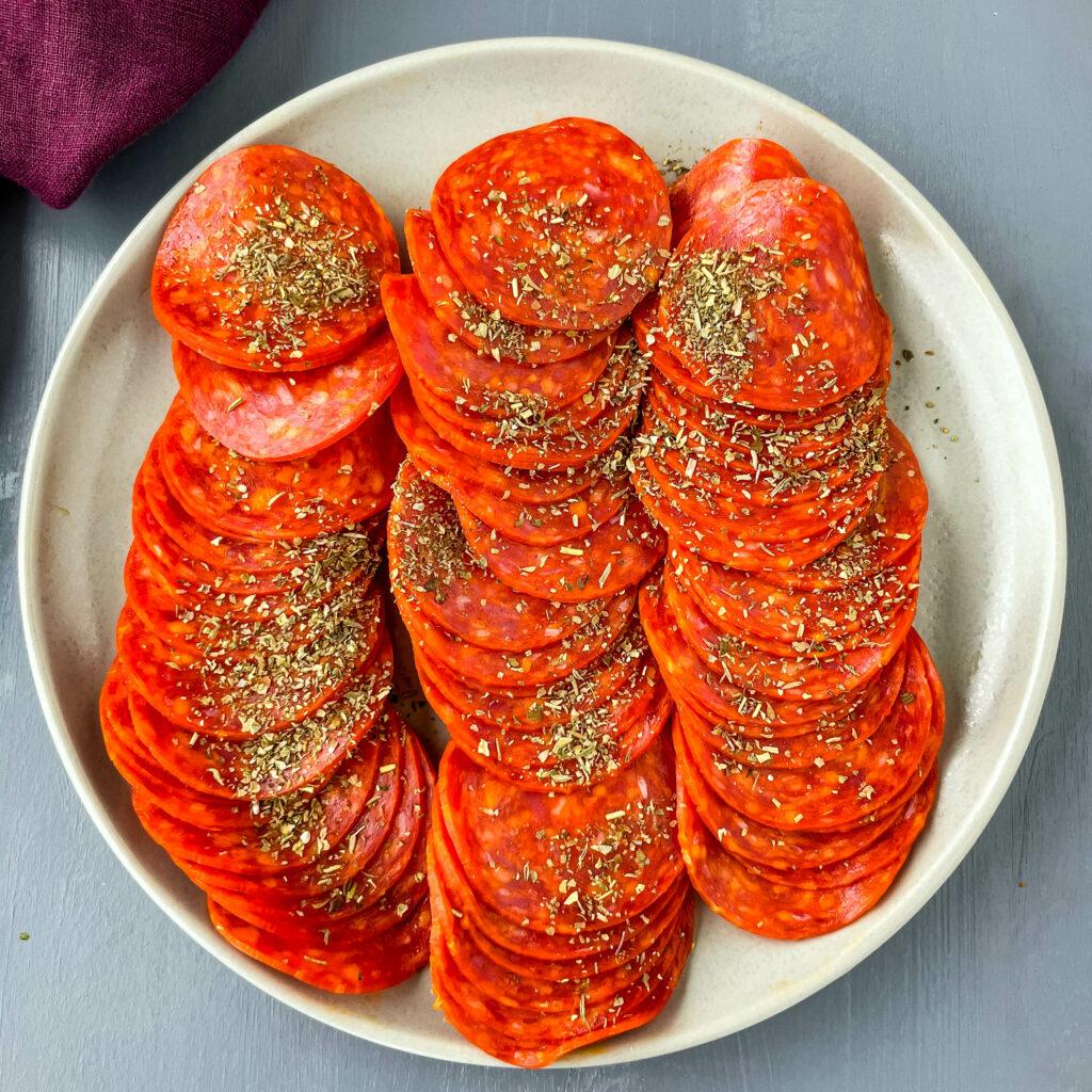 seasoned pepperoni on a plate