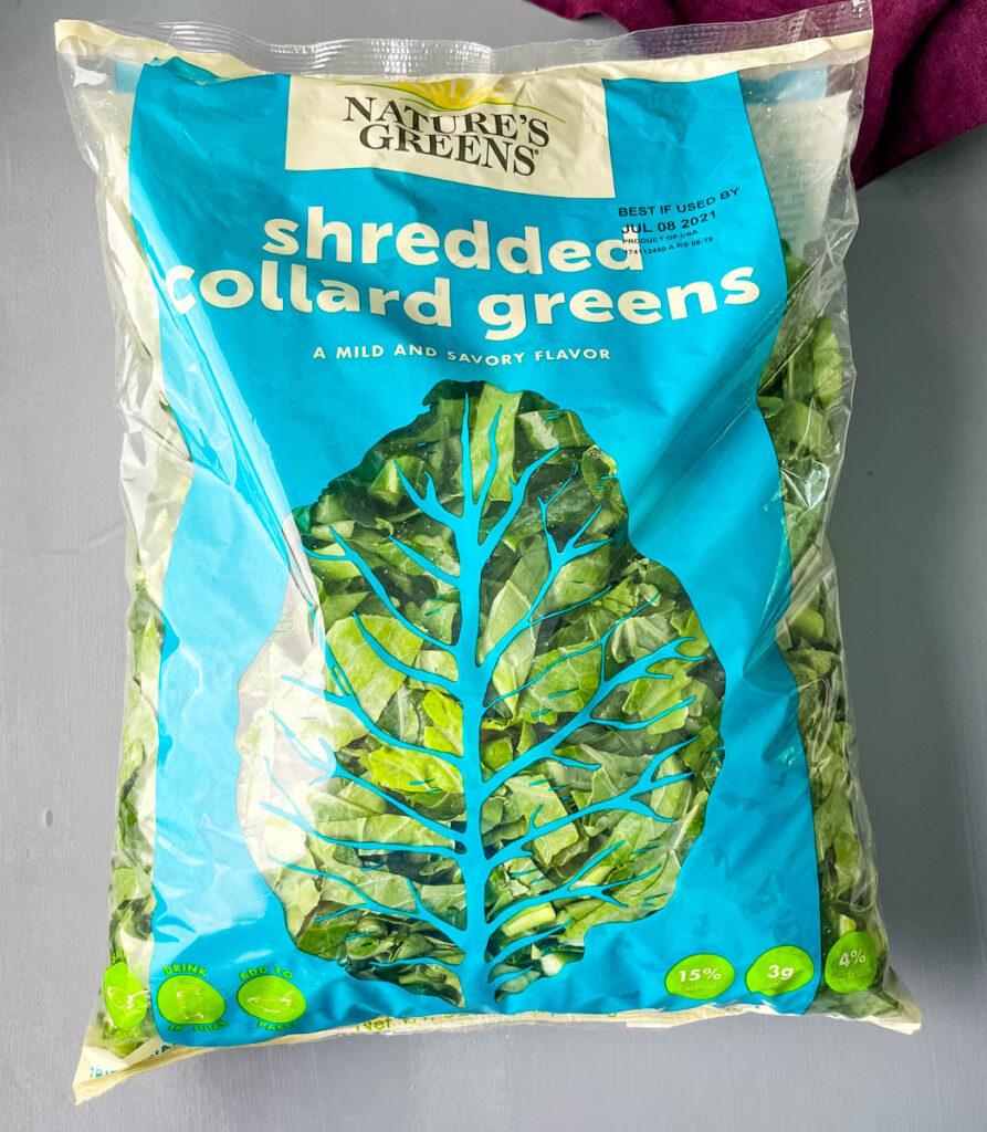 shredded collard greens in a package