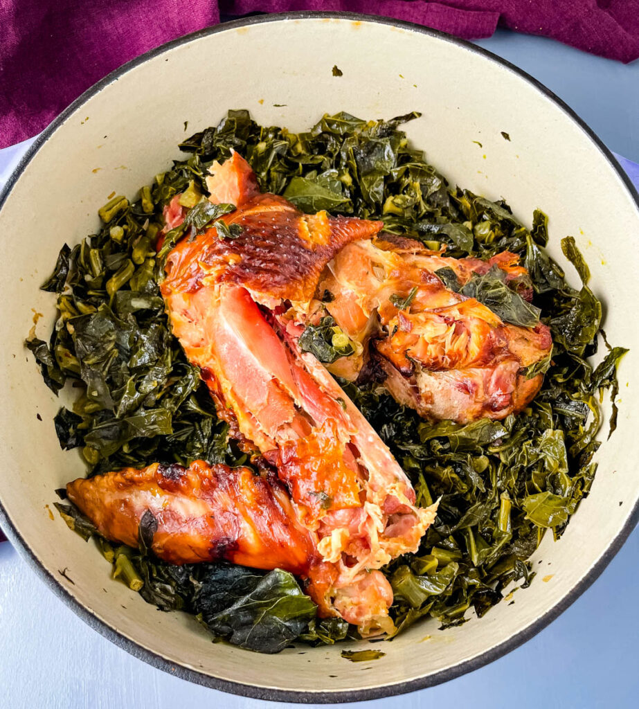 collard greens and smoked turkey in a pot