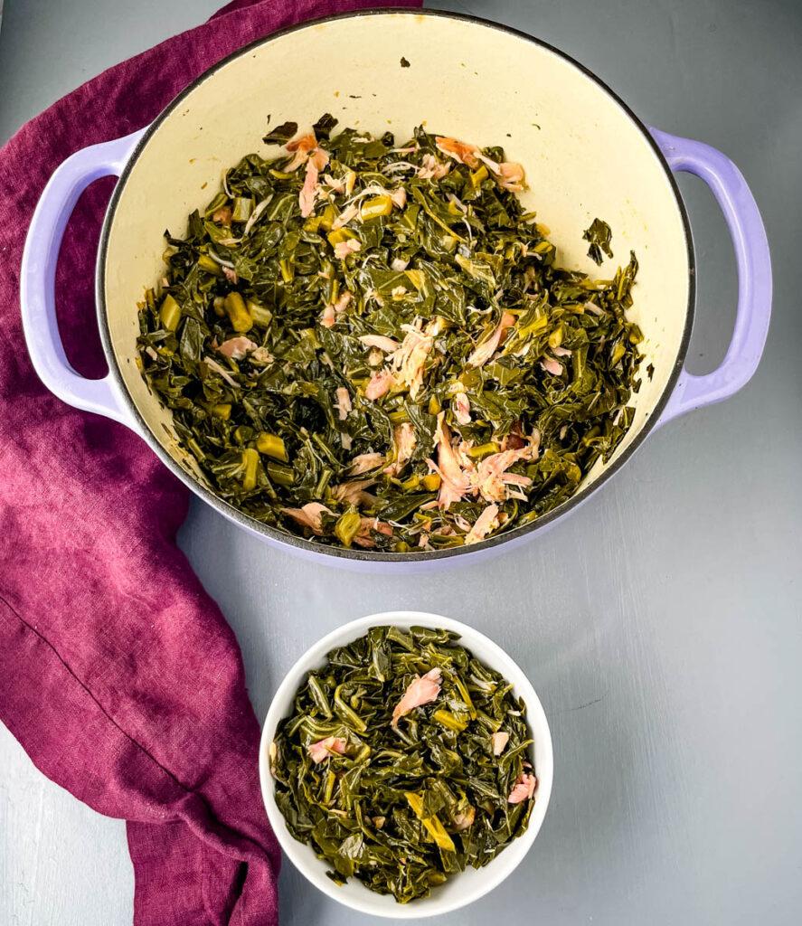 southern collard greens in pot