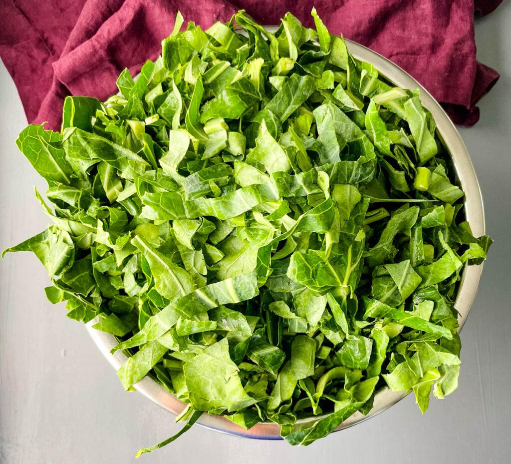 collard greens in a large bowl