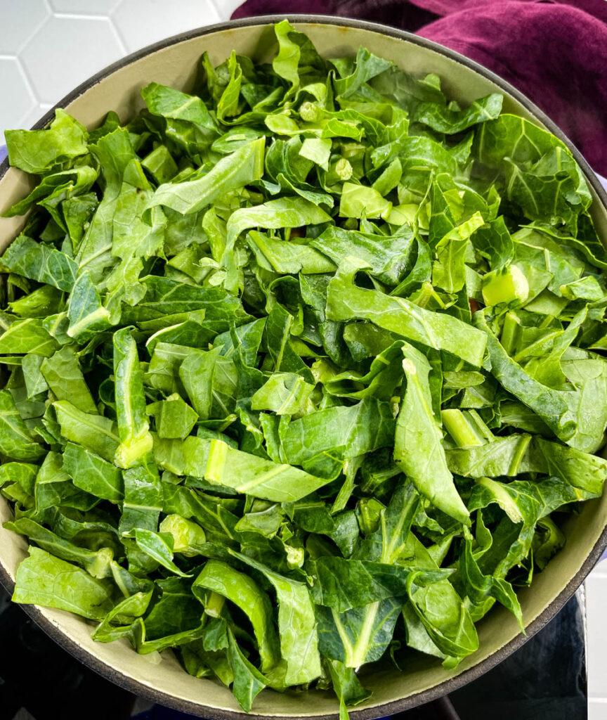 shredded collard greens in a pot