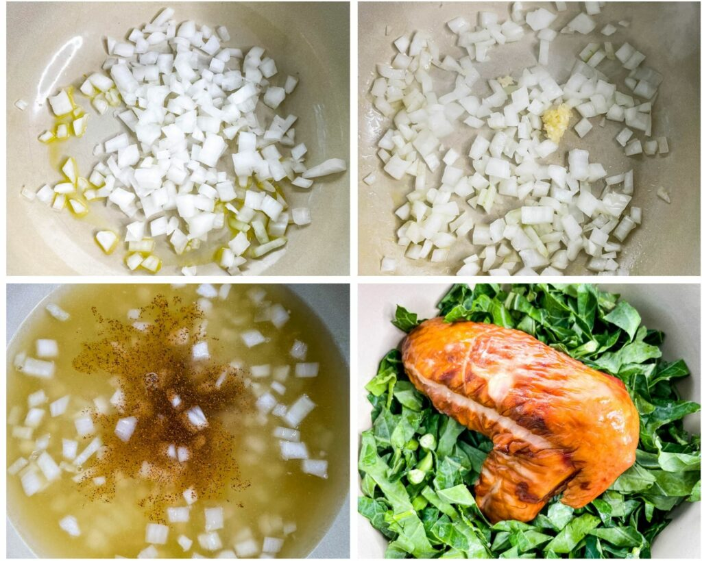 collage photo of sauteed onions in a pot with collard greens