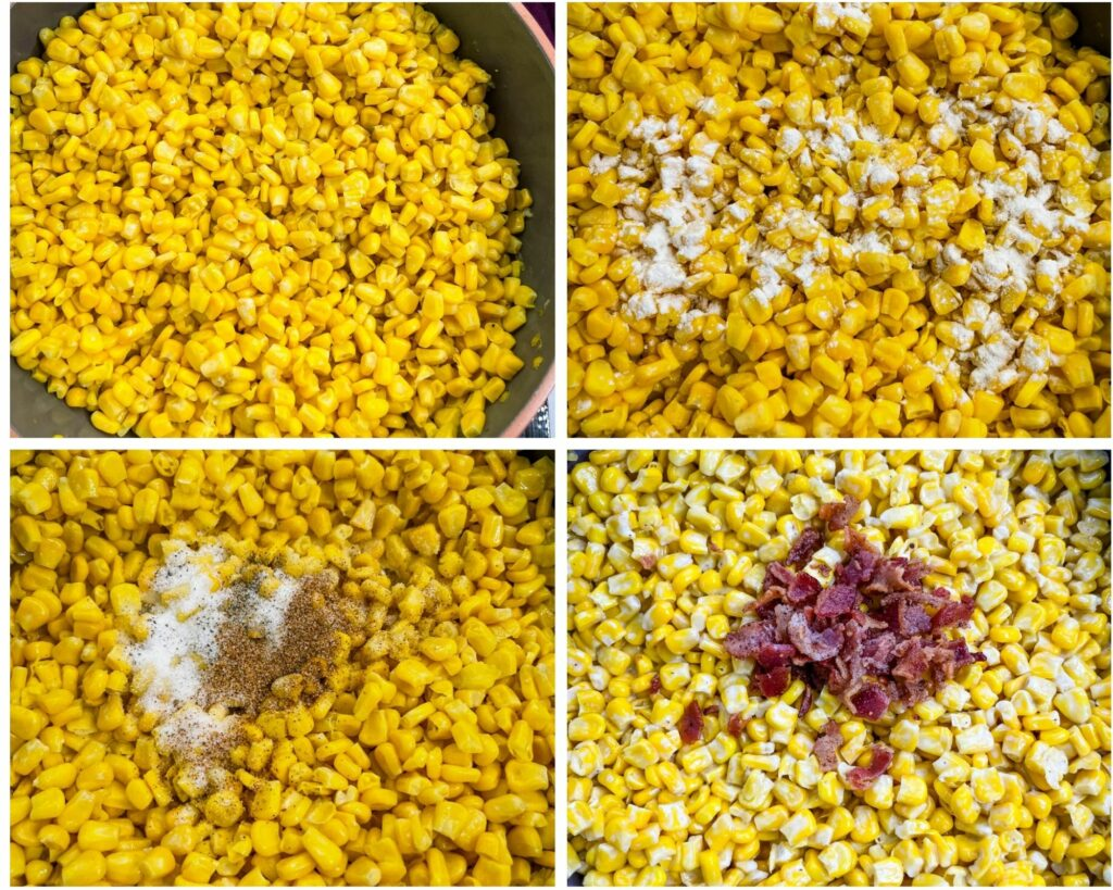 collage photo showing how to make creamed corn with bacon