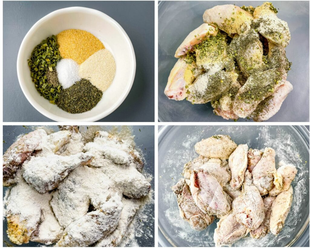 collage photo with 4 photos displayed with raw chicken wings in ranch seasoning
