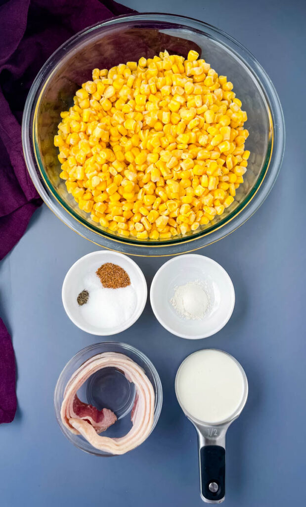 whole corn, salt, pepper, bacon, flour, and heavy cream in separate bowls