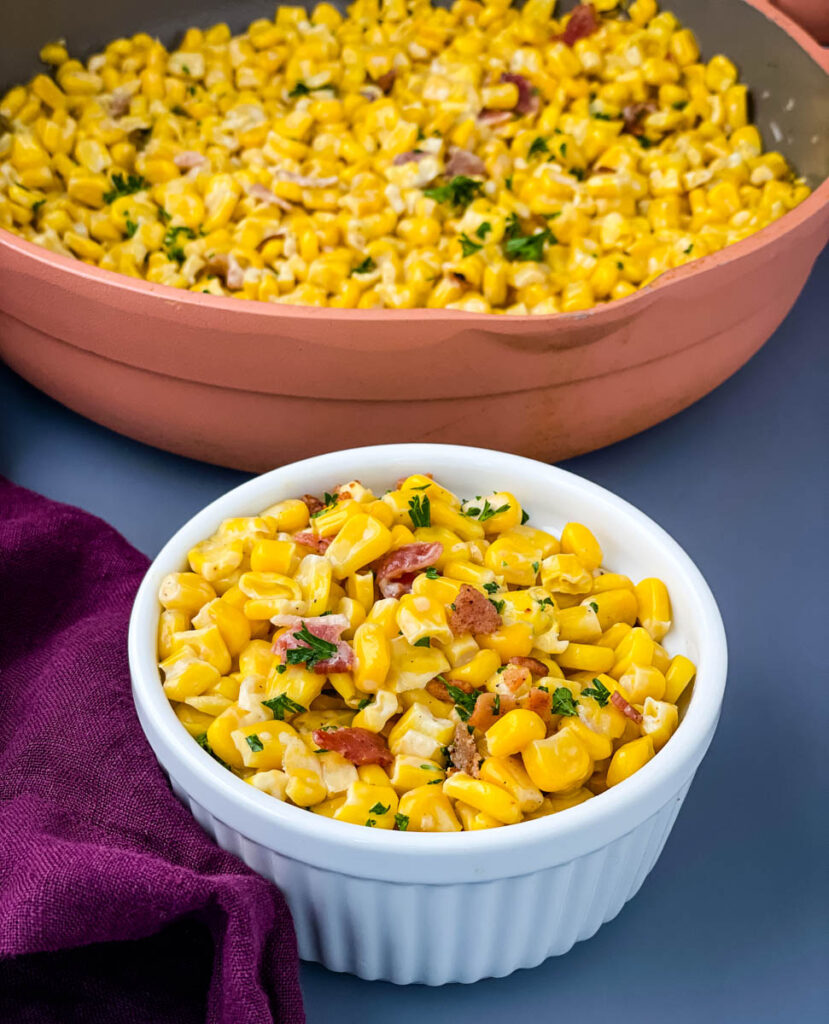 homemade creamed corn in a white bowl