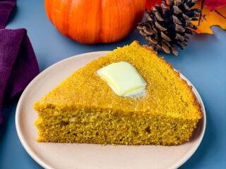 pumpkin cornbread on a plate