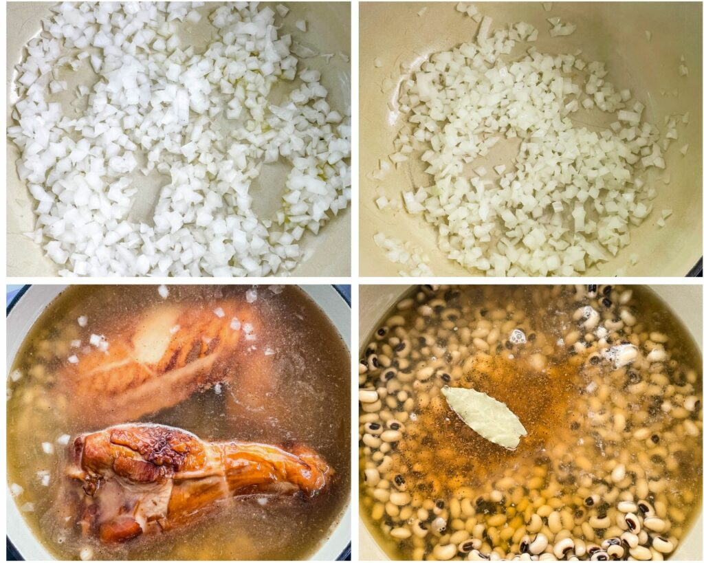 collage of 4 photos showing how to saute onions and add black eyed peas, broth, and smoked turkey to a Dutch oven