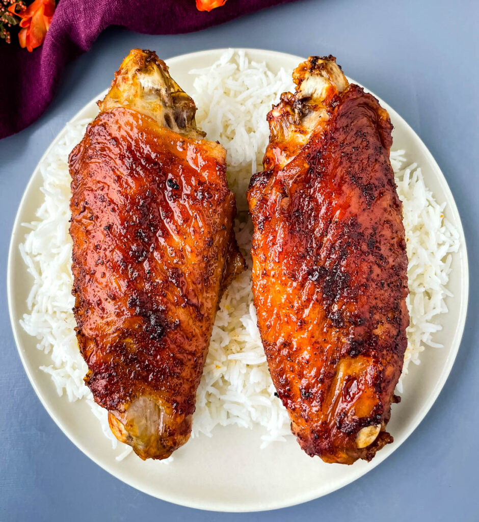 air fryer turkey wings and rice on a plate