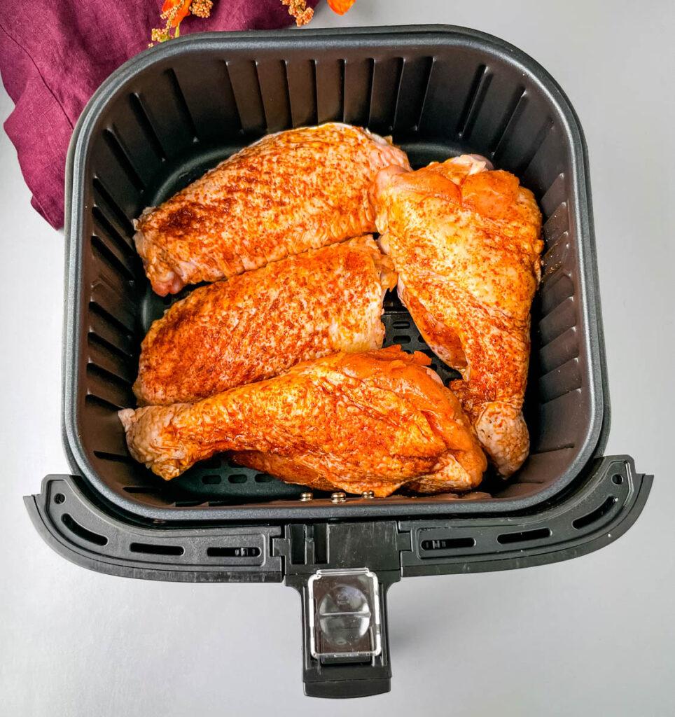 raw turkey wings in an air fryer