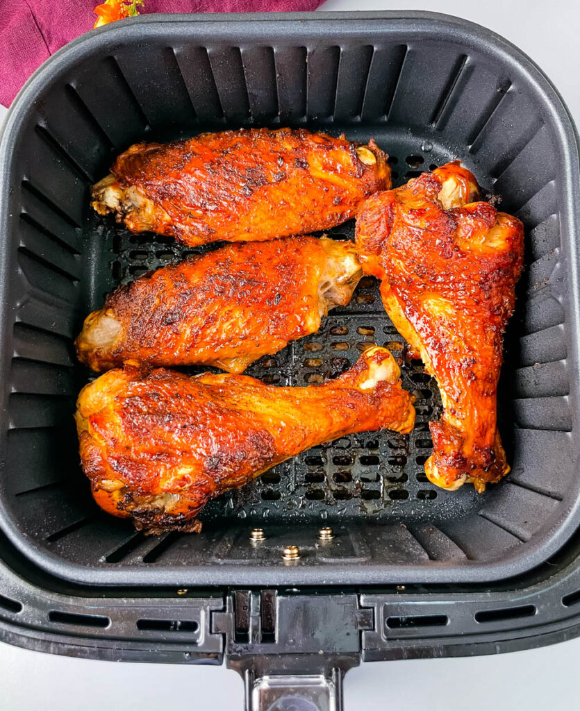 cooked turkey wings in an air fryer