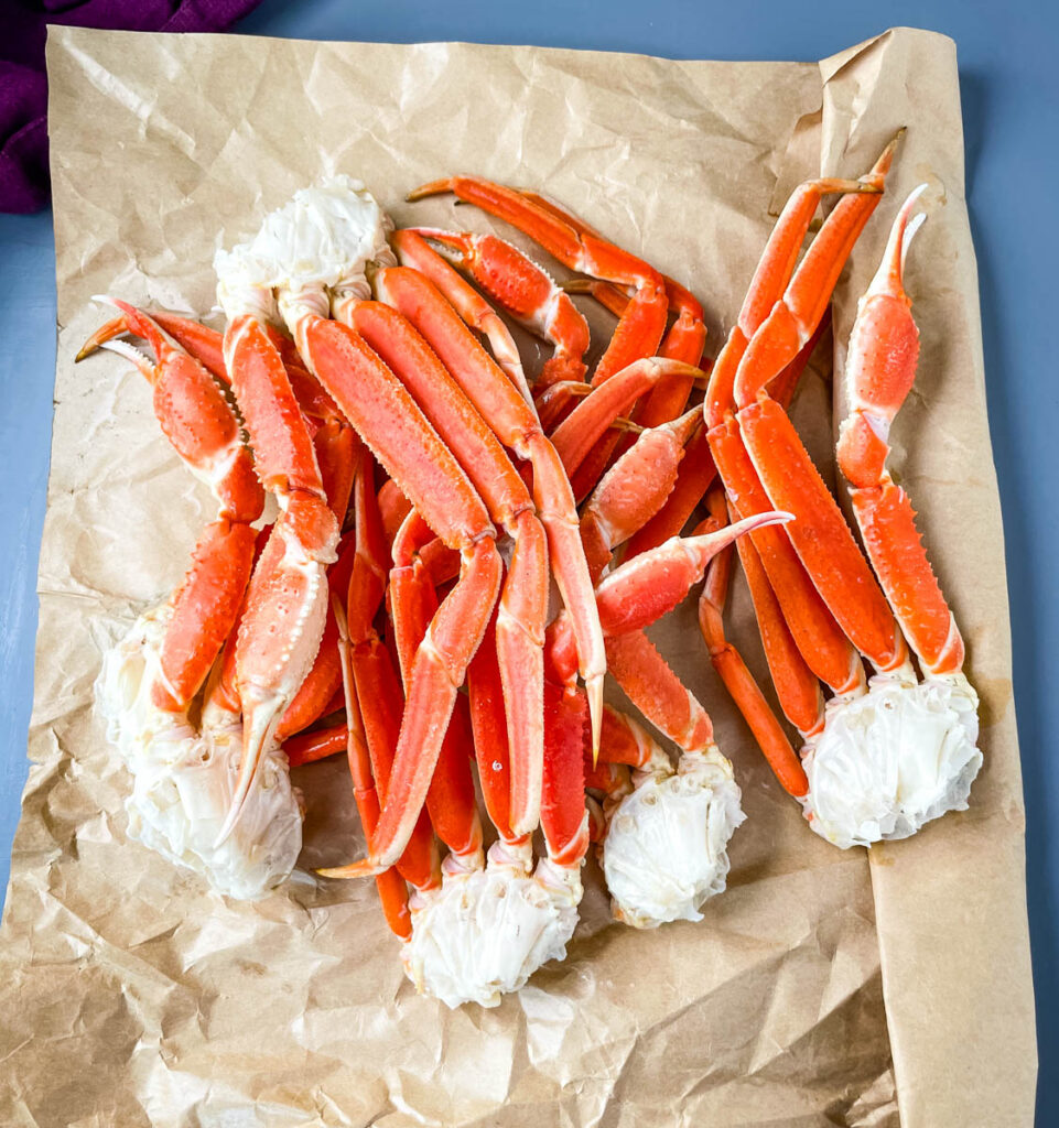 snow crab legs on a flat surface