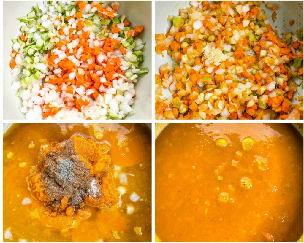 collage photo of 4 photos showing how to saute veggies and mix in pumpkin puree