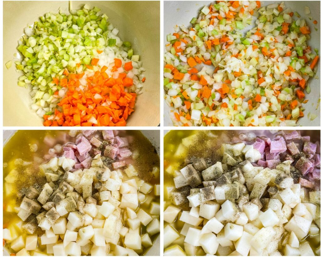collage photo of 4 photos with sauteed veggies in a Dutch oven