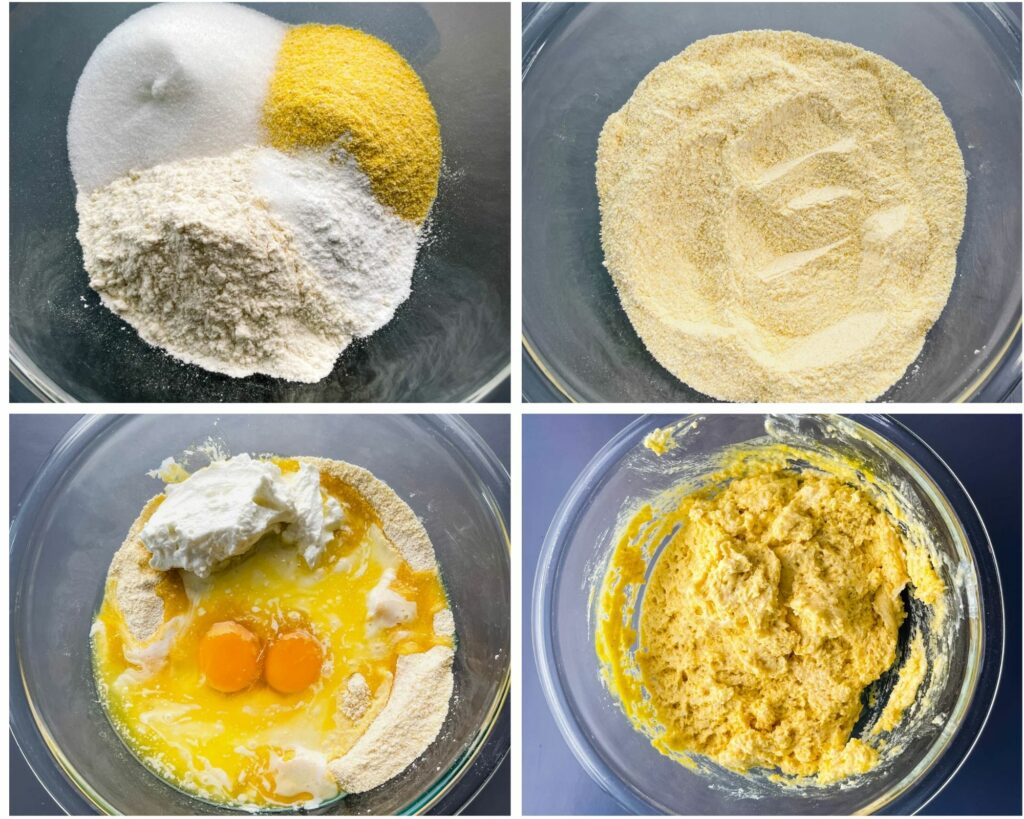 collage of 4 photos that mix cornmeal and wet ingredients in a mixing bowl