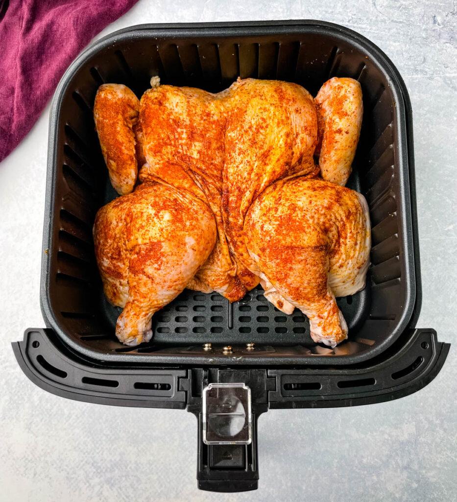 raw spatchcock chicken in air fryer