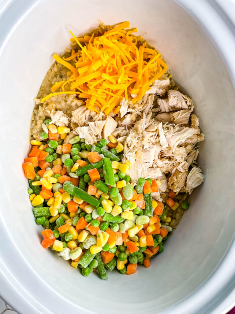 chicken, rice, and vegetables in a slow cooker Crockpot