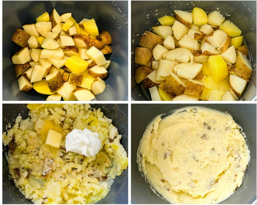 a collage photo of 4 photos showing sliced potatoes in a pot