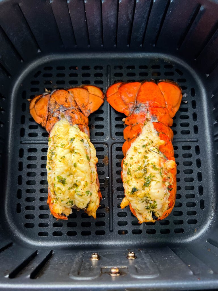cooked lobster tails in an air fryer