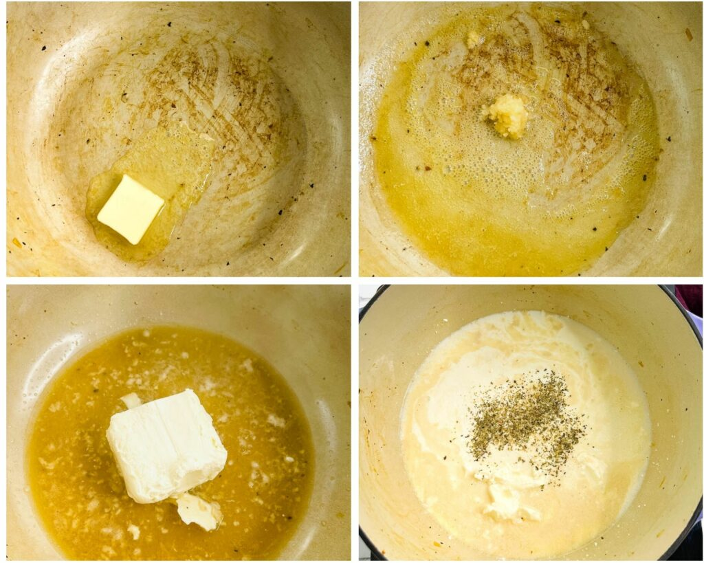 collage of 4 photos showing how to make cream sauce with butter, garlic, and chicken broth
