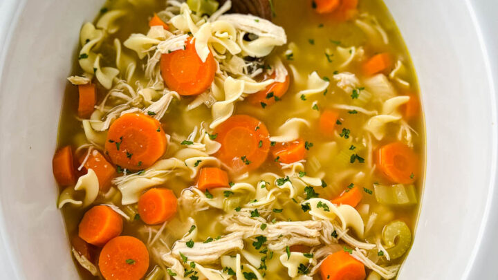 homestyle chicken noodle soup in a white pot
